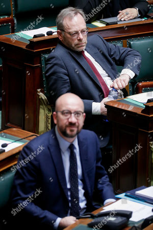Stock Picture of Belgian Prime Minister Charles Michel (bottom) and New Flemish Alliance (N-VA) head of group Peter De Roover (top) attend a plenary session at the federal parliament in Brussels, Belgium, 28 March 2019. The main subject of the plenary session is a discussion on the Climat act.