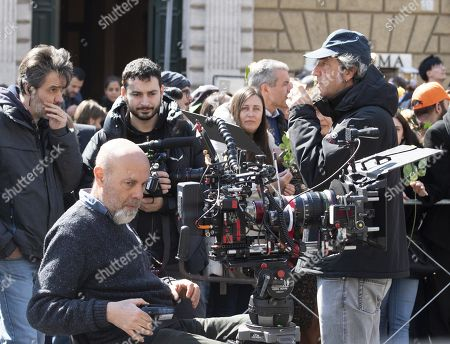 Stock Image of Paolo Sorentino during the filming of the television series 'The New Pope' in Rome, Italy, 28 March 2019. The sequel of Paolo Sorrentino's 2016 TV series 'The Young Pope' is scheduled to be released in December 2019.