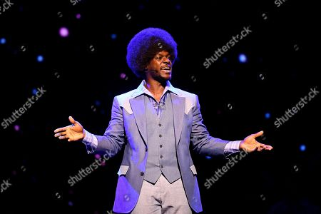 Tim Omaji performs during a media preview for 'Saturday Night Fever' at the Lyric Theatre in Sydney, New South Wales, Australia, 28 March 2019.