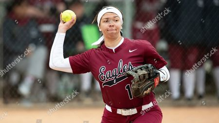 North Carolina Central's Caroline Campbell (10) makes a throw during an NCAA softball game on in Cary, N.C