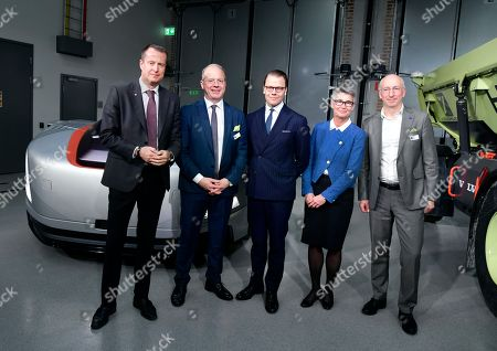 Stock Image of Anders Ygeman, Minister for Energy and Digital Development, Martin Lundstedt, president and CEO of the Volvo Group, Prince Daniel, Lisbeth Schultze, and Lars Stenqvist, CTO Volvo