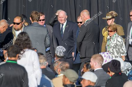 Australian Governor-General Sir Peter Cosgrove (C) arrives at the national Remembrance Service to those who were tragically killed in the Al Noor Mosque and the Linwood Islamic Centre shooting in Christchurch, New Zealand, 29 March 2019.