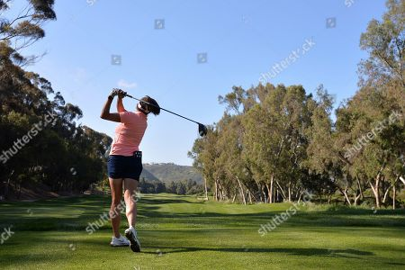 Gerina Piller plays her shot from the 17th tee during the first round of the Kia Classic LPGA golf tournament, in Carlsbad, Calif