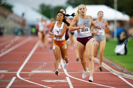 Stock Photo of Hannah Campbell #3232 with Texas A&M in action Women 1500 Meter Run Section B Univ at The Clyde Littlefield Texas Relays, Mike A. Myers Stadium. Austin, Texas