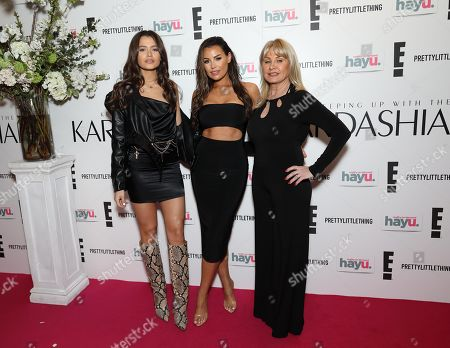 (L-R)Natalya Wright, Jessica Wright and mother Carol Wright. attends an exclusive screening event in London for the new season of Keeping Up with the Kardashians, coming to E! and hayu this April.
