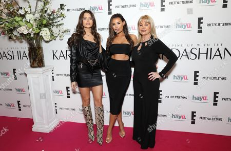 Natalya Wright, Jessica Wright and Carol Wright attends an exclusive screening event in London for the new season of Keeping Up with the Kardashians, coming to E! and hayu this April.