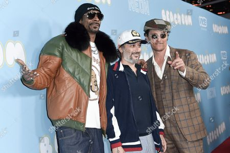 """Snoop Dogg, Harmony Korine, Matthew McConaughey. Snoop Dogg, from left, Harmony Korine and Matthew McConaughey attend the LA Premiere of """"The Beach Bum"""" at ArcLight Hollywood, in Los Angeles"""