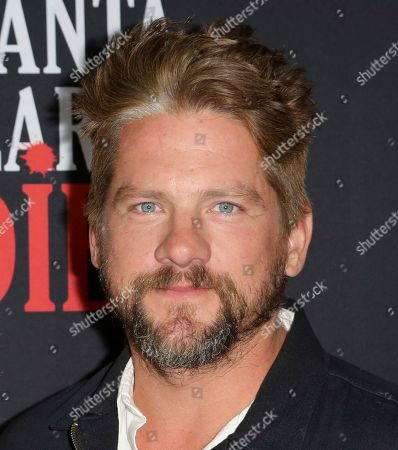 """Stock Picture of Zachary Knighton arrives at the LA Premiere of """"Santa Clarita Diet"""" Season 3 at the Hollywood American Legion Post 43, in Los Angeles"""