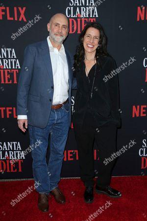 "Victor Fresco, Tracy Katsky. Victor Fresco, left, and Tracy Katsky arrive at the LA Premiere of ""Santa Clarita Diet"" Season 3 at the Hollywood American Legion Post 43, in Los Angeles"