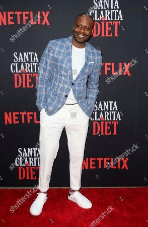 "Malcolm Barrett arrives at the LA Premiere of ""Santa Clarita Diet"" Season 3 at the Hollywood American Legion Post 43, in Los Angeles"