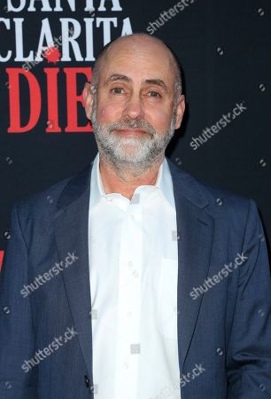 """Stock Image of Victor Fresco arrives at the LA Premiere of """"Santa Clarita Diet"""" Season 3 at the Hollywood American Legion Post 43, in Los Angeles"""