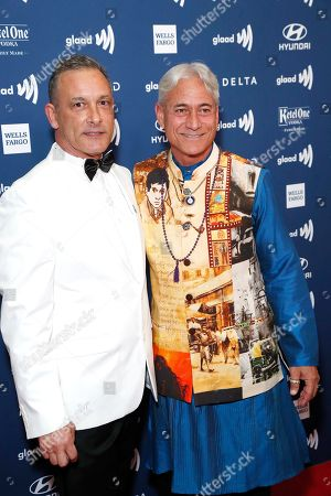 Johnny Chaillot (L) and US diver Greg Louganis (R) arrive during the 30th Annual GLAAD Media Awards at the Beverly Hilton Hotel in Beverly Hills, California, USA, 28 March 2019. The 30th annual GLAAD Media Awards, presented by the Gay and Lesbian Alliance Against Defamation recognize and honor media for their fair, accurate and inclusive representations of the LGBTQ (lesbian, gay, bisexual, transgender and queer) community and the issues that affect their lives.