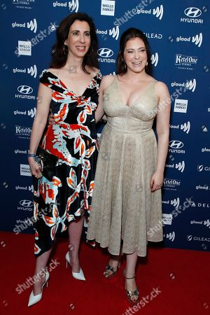 Aline Brosh McKenna (L) and US actress Rachel Bloom (R) arrive during the 30th Annual GLAAD Media Awards at the Beverly Hilton Hotel in Beverly Hills, California, USA, 28 March 2019. The 30th annual GLAAD Media Awards, presented by the Gay and Lesbian Alliance Against Defamation recognize and honor media for their fair, accurate and inclusive representations of the LGBTQ (lesbian, gay, bisexual, transgender and queer) community and the issues that affect their lives.