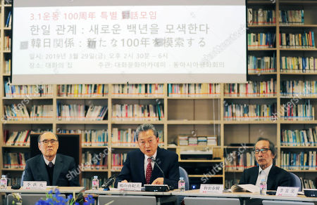 Former Japanese Prime Minister Yukio Hatoyama (C), former South Korean Prime Minister Lee Hong-koo (L) and Haruki Wada, a professor emeritus at Tokyo University, attend a forum in Seoul , South Korea, 29 March 2019. The forum centered around how to foster the next 100 years of Seoul-Tokyo relations and was held to mark the centennial of Korean people's 1919 popular movement that protested for independence from Japan's colonial rule of the Korean Peninsula.