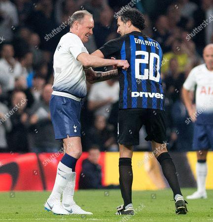 Paul Gascoigne and Fabio Galante share a laugh together