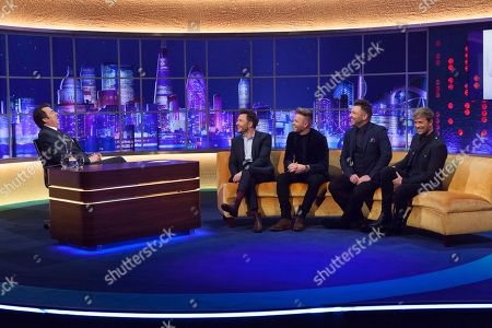 Stock Photo of Jonathan Ross, Shane Filan, Nicky Byrne, Mark Feehily, Kian Egan