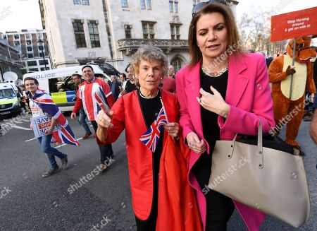 Kate Hoey leaves Parliament Square after speaking at a Pro-Brexit rally