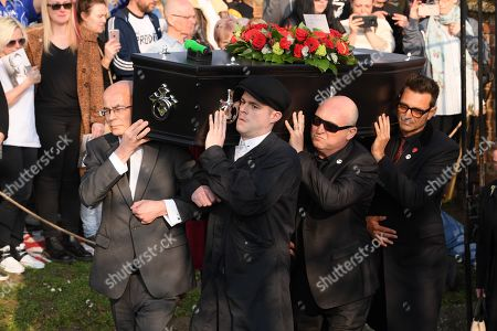 The coffin of Keith Flint