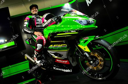 Spanish rider Ana Carrasco of the Provec Racing team presents her new motorbike for the 2019 World Supersport 300 season in Barcelona, Spain, 29 March 2019. Ana Carrasco is the first female motorcyclist ever to win a world championship title in a motorcycling race.