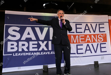 """UK lawmaker Peter Bone speaks at a rally in Parliament Square after the final leg of the """"March to Leave"""" in London, . The protest march which started on March 16 in Sunderland, north east England, finishes on Friday March 29 in Parliament Square, London, on what was the original date for Brexit to happen before the recent extension"""