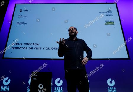 """Scriptwriter Borja Cobeaga speaks during the session 'How we will create how we will innovate"""" at the C de C 019 congress in San Sebastian, Spain, 29 March 2019. Under the motto 'Searching for new Ways', the Creatives' Club celebrates its 20th anniversary of holding their annual congress that gathers experts from all over the world."""
