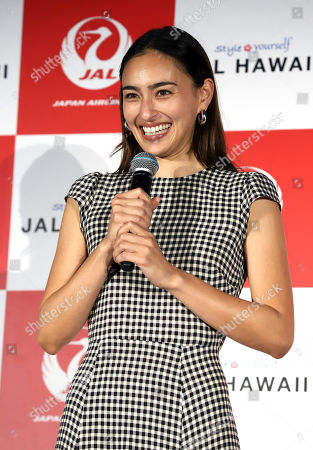 Stock Picture of Japanese-American model Jun Hasegawa attends an event of Japan Airlines' tourism promotion to Hawaii with Hilton Grand Vacations
