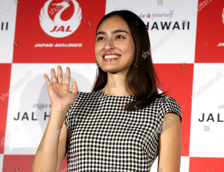 Japanese-American model Jun Hasegawa attends an event of Japan Airlines' tourism promotion to Hawaii with Hilton Grand Vacations