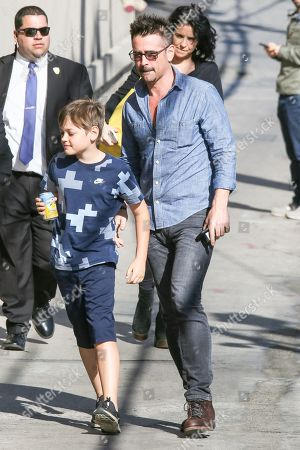 Stock Picture of Colin Farrell and his son Henry Farrell