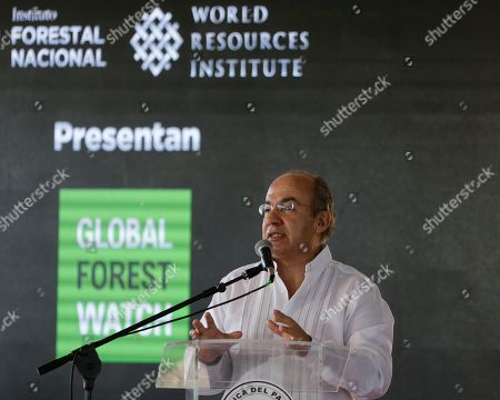 Former Mexican President Felipe Calderon talks as advisor to the global World Resources Institue NGO, during official ceremony in Asuncion, Paraguay, . Calderon signed a reforestation and environmental resources agreement with Paraguay's president Mario Benitez, unseen
