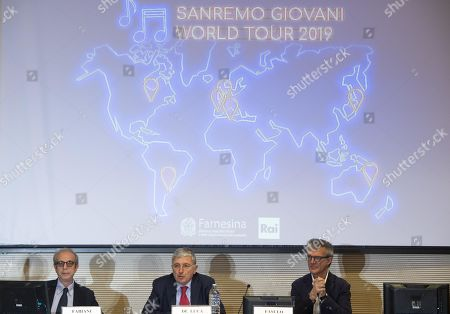 Rai press office Dante Fabiani; Director-General for the Promotion of the Italian Economic System, Vincenzo De Luca and RaiUno Vice director, Claudio Fasulo, during a press conference for the presentation of Sanremo Giovani World Tour at Farnesina Palace in Rome, 29 March 2019.