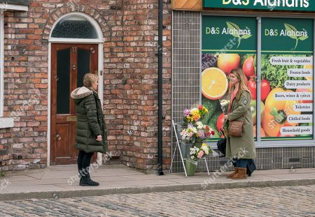 Ep 9732 Monday 1st April 2019 - 1st Ep Thanking Gina Seddon, as played by Connie Hyde, for her part in saving Tim's life, Sally Metcalfe, as played by Sally Dynevor, asks a shocked Gina not to leave.