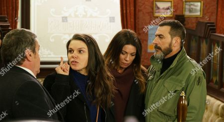 Ep 9738 Monday 8th April 2019 - 1st Ep At the Rovers the Connors raise a glass to Aidan, and Kate Connor, as played by Faye Brookes, is outraged when Peter Barlow, as played by Chris Gascoyne, brings Carla Connor, as played by Alison King, to join them, angrily accusing her of killing Rana.