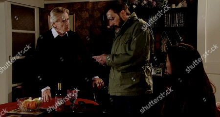 Ep 9739 Monday 8th April 2019 - 2nd Ep Back at No.1 Ken Barlow, as played by William Roache, and Peter Barlow, as played by Chris Gascoyne, worry as Carla Connor, as played by Alison King, knocks back wine gazing listlessly into thin air. When Carla receives another message from 'Rana' she is completely freaked out