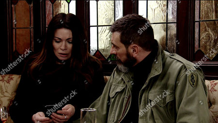 Ep 9738 Monday 8th April 2019 - 1st Ep Carla Connor's, as played by Alison King, horrified when she receives a message online: 'you destroy everything you touch'. Shakily handing her phone to Peter Barlow, as played by Chris Gascoyne, and Michelle, they are aghast to see the sender's name is Rana!
