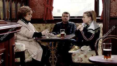 Ep 9736 & Ep 9737 Friday 5th April 2019 Rita Tanner, as played by Barbara Knox, Paul Foreman, as played by Peter Ash, Gemma Winter, as played by Dolly-Rose Campbell.