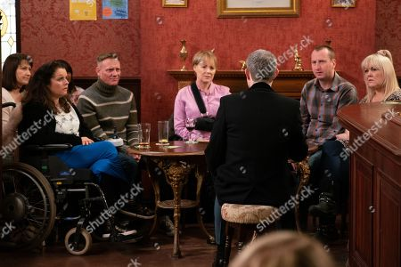 Ep 9736 & Ep 9737 Friday 5th April 2019 When Nick Tilsley, as played by Ben Price, calls a factory meeting to speak about the future he is interrupted by Carla who is armed with a proposition which might save their jobs. With Faye Windass, as played by Ellie Leach, Sean Tully, as played by Antony Cotton, Sally Metcalfe, as played by Sally Dynevor, Kirk Sutherland, as played by Andy Whyment, Beth Sutherland, as played by Lisa George.