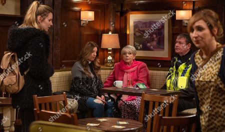 Ep 8439 Monday 8th April 2019 PC Swirling, as played by ANDY MOORE, starts an interview with Harriet Woodfield, as played by Katherine Dow Blyton, about the attack but she's fed up with some villagers suspecting Dawn, as played by Olivia Bromley, is involved. When PC Swirling starts to question her, Dawn realises she's under suspicion. With Pearl Ladderbanks, as played by Meg Johnson, Laurel Thomas, as played by Charlotte Bellamy.