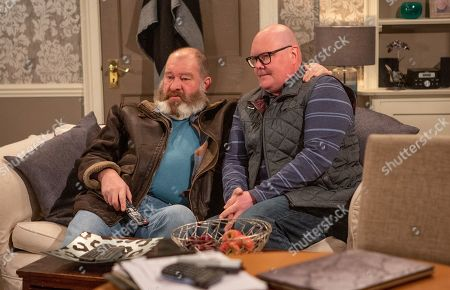 Ep 8439 Monday 8th April 2019 Paddy Kirk, as played by Dominic Brunt, tries to speak to Bear Wolf, as played by Joshua Richards, before he leaves for Northern Ireland.