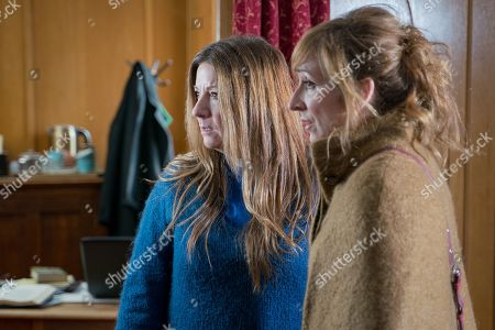 Ep 8440 Tuesday 9th April 2019 - 1st Ep Harriet Harriet Finch, as played by Katherine Dow Blyton, is rattled to discover somebody's thrown red paint all over the pulpit... Also pictured Laurel Thomas, as played by Charlotte Bellamy.