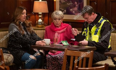 Ep 8439 Monday 8th April 2019 PC Swirling, as played by ANDY MOORE, starts an interview with Harriet Woodfield, as played by Katherine Dow Blyton, about the attack but she's fed up with some villagers suspecting Dawn is involved. When PC Swirling starts to question her, Dawn realises she's under suspicion. With Pearl Ladderbanks, as played by Meg Johnson.