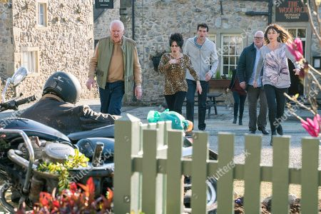 Ep 8436 Thursday 4th April 2019 Just as Paddy Kirk, as played by Dominic Brunt, assures Chas Dingle, as played by Lucy Pargeter, she'll have a peaceful pregnancy with no stress, they're both alarmed by an almighty crash from outside the bar and are aghast to find Bear Wolf, as played by Joshua Richards, has crashed in to Gracie's garden. But why is he in the village? With Douglas Potts, as played by Duncan Preston, Faith Dingle, as played by Sally Dexter, Marlon Dingle, as played by Mark Charnock.
