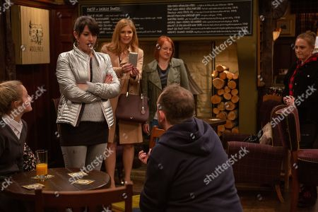 Ep 8434 Tuesday 2nd April 2019 Dan proposes to Kerry, but is it to late to save thei relationship? With Dan Spencer, as played by Liam Fox; Kerry Wyatt, as played by Laura Norton, Bernice Blackstock, as played by Samantha Giles, Nicola King, as played by Nicola Wheeler, Amy Wyatt, as played by Natalie Ann Jamieson.