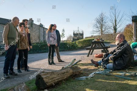 Ep 8436 Thursday 4th April 2019 Just as Paddy Kirk, as played by Dominic Brunt, assures Chas Dingle, as played by Lucy Pargeter, she'll have a peaceful pregnancy with no stress, they're both alarmed by an almighty crash from outside the bar and are aghast to find Bear Wolf, as played by Joshua Richards, has crashed in to Gracie's garden. But why is he in the village? Douglas Potts, as played by Duncan Preston, Faith Dingle, as played by Sally Dexter, Marlon Dingle, as played by Mark Charnock.