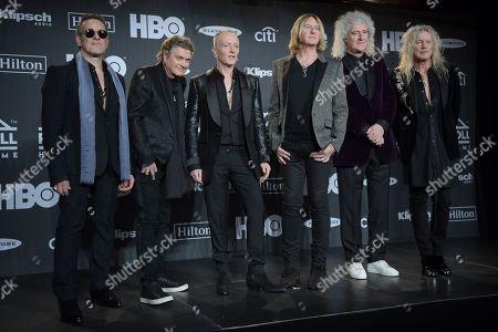 Vivian Campbell, Rick Allen, Phil Collen and Joe Elliott, Def Leppard, Brian May and Rick Savage