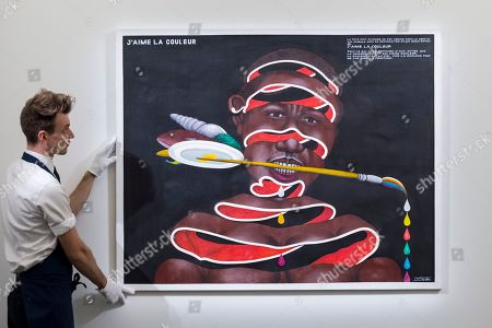 """Stock Picture of A technician presents """"J'aime la couleur"""", 2005, by Chéri Samba (Est. GBP 40,000-60,000). Preview of Sotheby's upcoming Modern and Contemporary African Art sale. Works from artists across the African diaspora will be offered for sale on 2 April."""