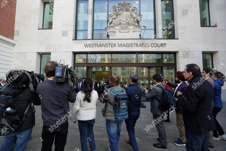Journalists gather outside court after Indian diamond tycoon Nirav Modi was denied bail at Westminster Magistrates Court in London, . Modi has been denied bail in London after Indian authorities alleged he was involved in a 1.8 billion US Dollar bank fraud