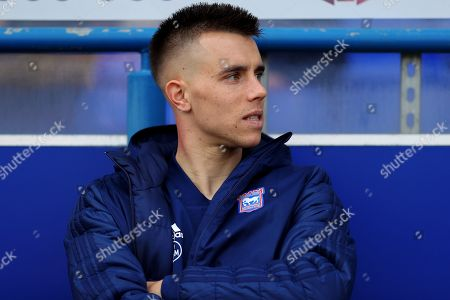 Stock Photo of Jonas Knudsen of Ipswich Town looks on from the substitutes bench - Ipswich Town v Hull City, Sky Bet Championship, Portman Road, Ipswich - 30th March 2019 Editorial Use Only - DataCo restrictions apply