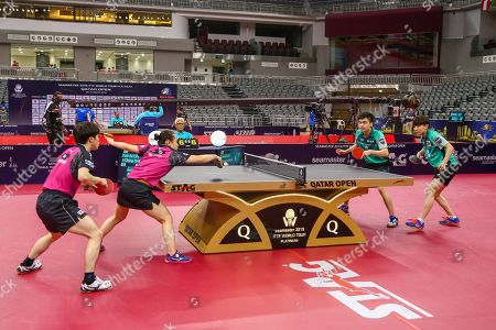 Morizono Masataka (L) of Japan in action with teammate ITO Mima (2nd L) during the mixed table tennis doubles Semifinals match against LIN Yun-Juland Cheng I-ChingÊ(R) of Taiwan at the ITTF World Tour Qatar Open in Doha, 29 March 2019.