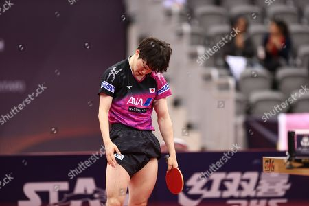 Morizono Masataka of Japan reacts with teammate ITO Mima (not pictured) during the mixed table tennis doubles Semifinals match against LIN Yun-Juland Cheng I-Ching of Taiwan (not pictured) at the ITTF World Tour Qatar Open in Doha, 29 March 2019.