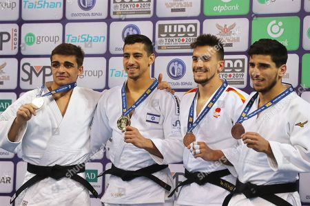 Tal Flicker (2-L) of Israel poses with his gold medal on the podium after winning the men's -66kg category at the Tbilisi Judo Grand Prix 2019 in Tbilisi, Georgia, 29 March 2019. Flicker won ahead of second placed Giorgi Tutashvili (L) of Georgia and third placed Daniel Perez Roman (2-R) of Spain and Bagrati Niniashvili (R) of Georgia.